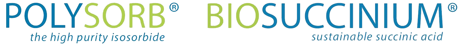 Logo POLYSORB®, the high purity isosorbide - Logo BIOSUCCINIUM® sustainable succinic acid